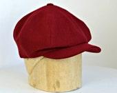 Men's Newsboy Cap in Vintage Maroon Wool - Dark Red Newsboy - Newsboy Hat