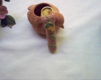 Rosebud Lip Balm Holder Key Ring Crochet Thread Art New Handmade