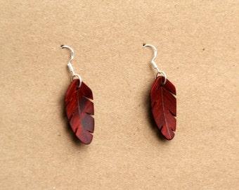 Handcarved Padauk Wood Feather / Leaf Earrings J160308