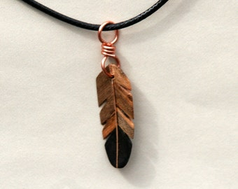 Handcarved Ebony, Ambrosia Maple and Maple Wood  feather  Pendant  J160381