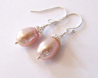 Pink Pearl Tear Drop Earrings in Sterling Silver, Large Freshwater Pearls, Blush Pink, Silvery Pink