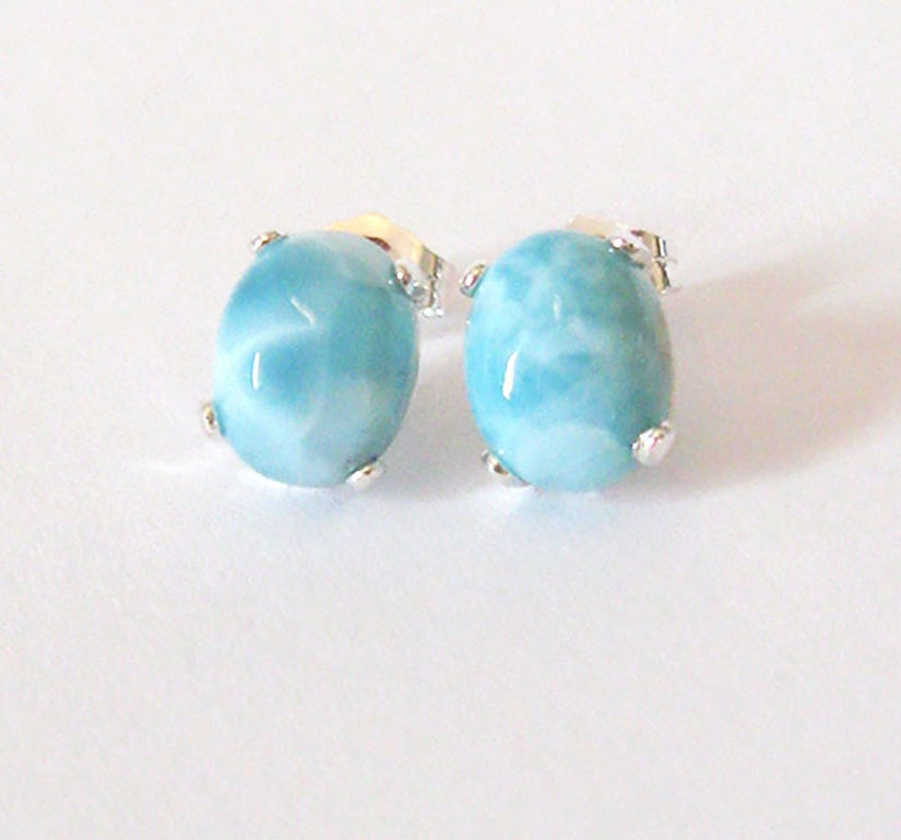larimar gemstone sterling earrings 9x7mm larimar studs