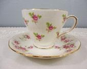 Duchess Rose Bone China Teacup and Saucer - Pink Rose Design