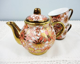 Vintage Coral and Gold Floral Teapot and 2 Demitasse Cups - Tea Set