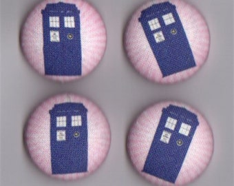 5 Large Covered Buttons, Police Box (Tardis) size 45 (1-1/8 in)