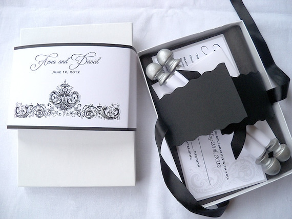 Wedding invitation suite, boxed scroll with damask, black and silver, traditional wedding invitation, paper scroll invitations, set of 25