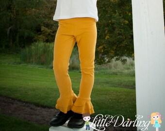 Mustard Girl Petal Pants Ruffle Pants Ruffle Leggings Double Ruffle Petal Pants - Made to Order