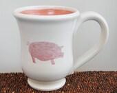 Pig Mug - Ceramic Stoneware Pottery Mug - Coffee Cup 12 oz. Handmade Mug