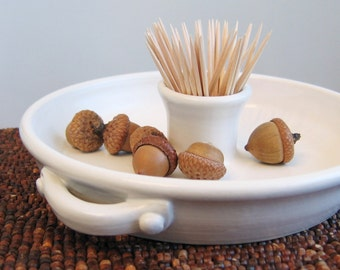 Pottery Olive Dish - Modern White Ceramic Appetizer Server - Holiday Party Entertaining - Handmade Plate