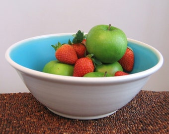 Pottery Fruit Bowl - Large Stoneware Ceramic Serving Bowl in Turquoise Blue