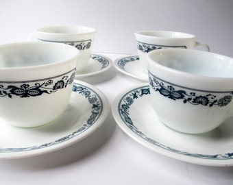 Vintage Old Town Blue Corning Cups and Saucers Set of Four - Retro