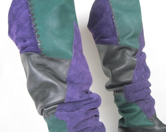 size 7 - vintage 1980s OTK, Thigh-Hi Leather & Suede Boots - green + purple + black  - FLINGS, made in Brazil