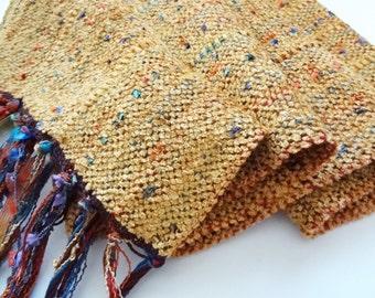 butter rum gold chenille handwoven scarf
