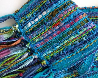 sheer spring handwoven scarf in beautiful blues