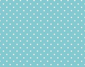 25% OFF White Swiss Dots on Aqua - 1/2 Yard