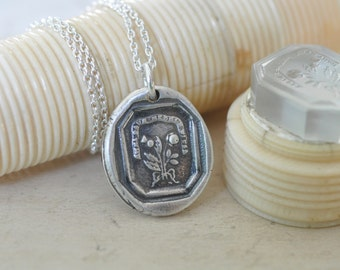 rose and scottish thistle wax seal necklace - outlander jewelry - sterling silver antique wax seal jewelry