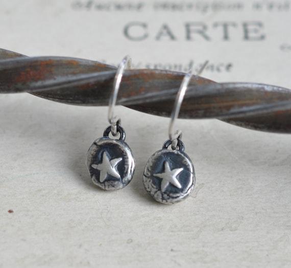 tiny star earrings - silver star wax seal dangle earrings ... shine on - fine silver wax seal jewelry