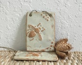 Bee Ornament  - Ceramic Bee - Handmade Ornament - Honey Bee with Flowers- Deseret