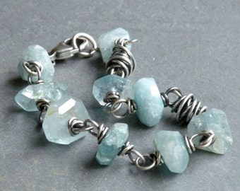 Aquamarine Bracelet, March Birthday, Rustic Bracelet, Blue Green Gemstones, Sterling Silver Wire Wrapped, #4615