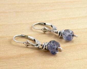 Iolite Gemstone Earrings, Iolite Dangles, Sterling Silver Lever Back, Faceted Blue Gemstones, Dangle Earrings, #4313