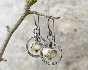 rustic dangle earrings, silver metalwork earrings, ivory lampwork glass earrings, oxidized ring earrings, silver dangle earrings