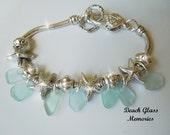 Sea Glass Bracelet, Starfish Nautical Aqua Beach Glass Jewelry Seaglass Charm Bracelet