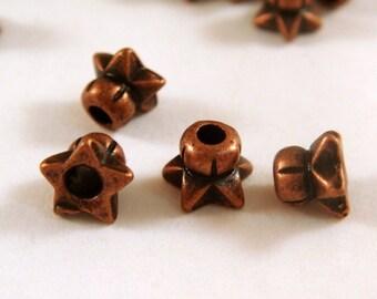 24 Antique Copper Bead Cap Star Flower 4.5x3mm - 24 pc - F4061BC-AC24