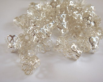 20 Silver Plated Bead Caps Flower Basket Iron 8mm  - 20 pc - F4173BC-S20-M