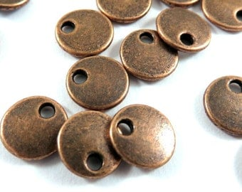 20 Flat Round Drop 8mm Antique Copper LF/NF - 20 pc - M7040-AC20