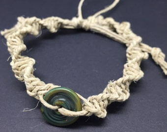 Macrame Hemp Bracelet with a lampworked bead