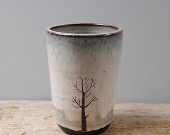Tall Black Ceramic Cup with Blue Tree and Dog