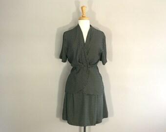 Skoet summer set, black and white set, polka a dot skort set, 80s rayon outfit, Maren skort set