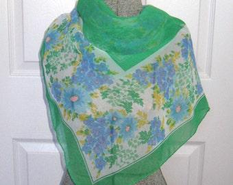 Floral chiffon Scarf .  Green and Blue Chiffon Scarf . green chiffon scarf