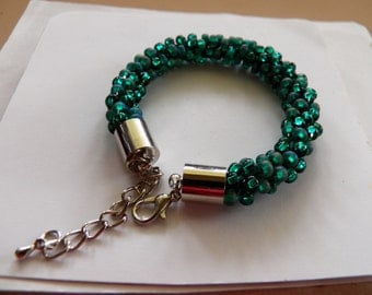 Emerald Shiny and Matte  Kumihimo Bracelet, Czech Mermaid Glass  Beaded Bracelet, Glittering Waves of Seed Beads