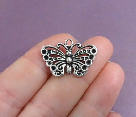 5 Large Butterfly Charms 26x18mm