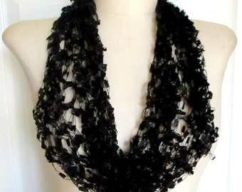 Black Infinity Scarf, Single Loop Black Scarf  Ribbon Circle Scarf, Black Ribbon Scarf, Crocheted, Knitted Handmade Woman's Scarf