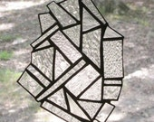 Stained Glass Suncatcher - Abstract in Clear Textured Glass