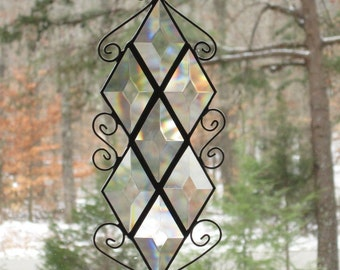 Beveled Glass Suncatcher - Diamond Bevels with Wire Curls