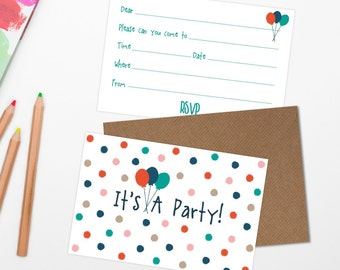 Set Of Five 'Polka Dot Party Invites' Cards