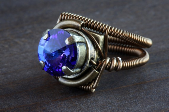 Steampunk Jewelry - Ring - Heliotrope Purple Swarovski Crystal