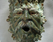 Ceramic Green Man wall sconce Mottled with a touch of Chocolate