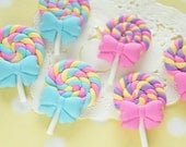 6 pcs Polymer Clay Lollipop Candy Cabochon (26mm39mm) CD650