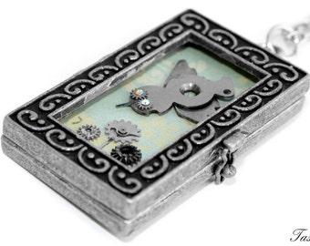Bird Necklace, Steampunk Sparrow Necklace, Clockwork Bird, Micro Jewelry, Miniature Necklace, Wearable Art, Assemblage Necklace, Silver Bird