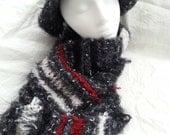 Black grey red white soft infinity scarf shawl wrap