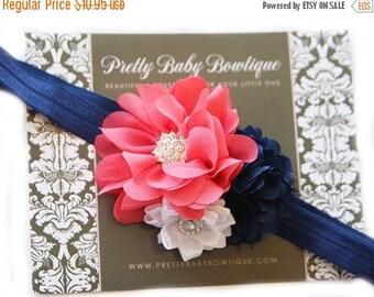 SALE Baby Headband - Coral and Navy headband For Baby- Baby Girl Headband -Coral and Navy Blue Flower Headband -Baby Headband - Photo Prop