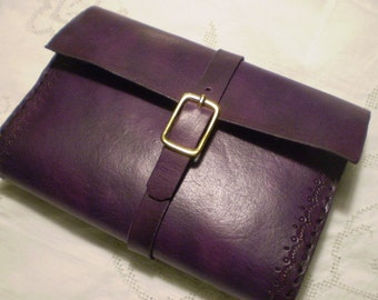 Deep Violet Leather Journal Cover With Fold Over Belt Loop Closure
