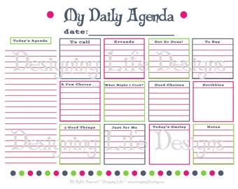 Daily Agenda PrintablePDF  - Dot Design Planner Page - To Do List Organizer