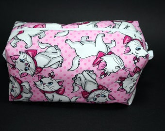 Boxy Makeup Bag - Disney's Many Faces of Marie from Aristocats Zipper - Pencil Pouch