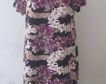 Little Purple and Black Hilo Hattie Hawaiian dress