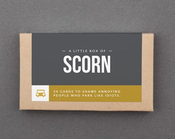 "Funny Joke Gift, Gag, White Elephant Gift Under 20, 15, 25. Man, Woman, Him, Her, Best Friend. Bad Parking Notes. ""Box of Scorn"" (LN001)"
